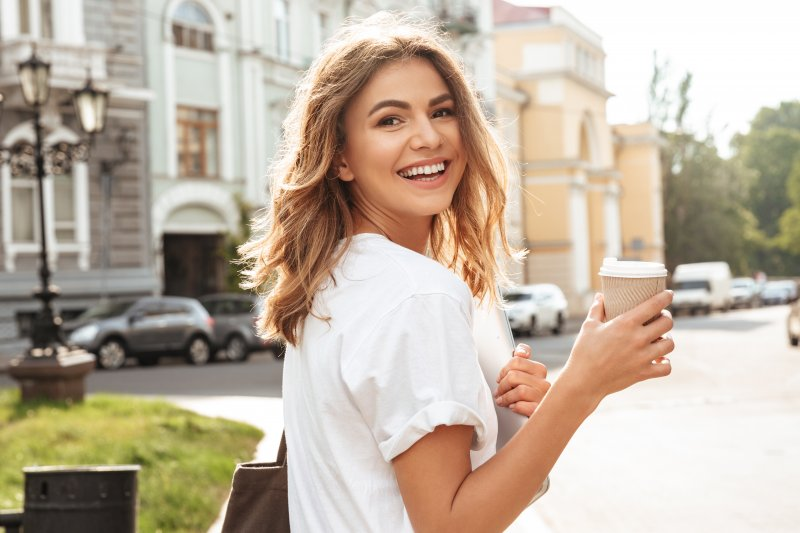 Woman smiling on morning walk